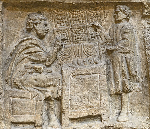 Roman tax collector calculating someone's taxes on an abacus (Metz, ca. 225 AD)