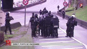 French police in protective clothing