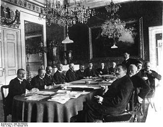 First meeting of the cabinet Scheidemann, 13 February 1919 at Weimar