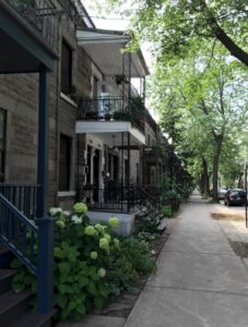 Row houses (terraces houses) on the Plateau in Montreal