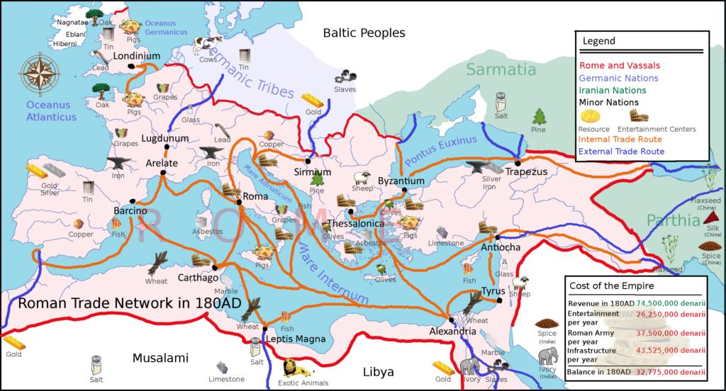 Roman Trade Routes (Source ORBIS, Stanford University)