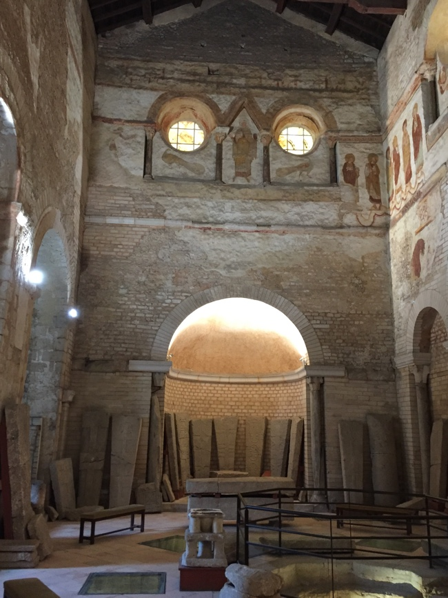 Baptistry interior showing original shape of building (Author photo)