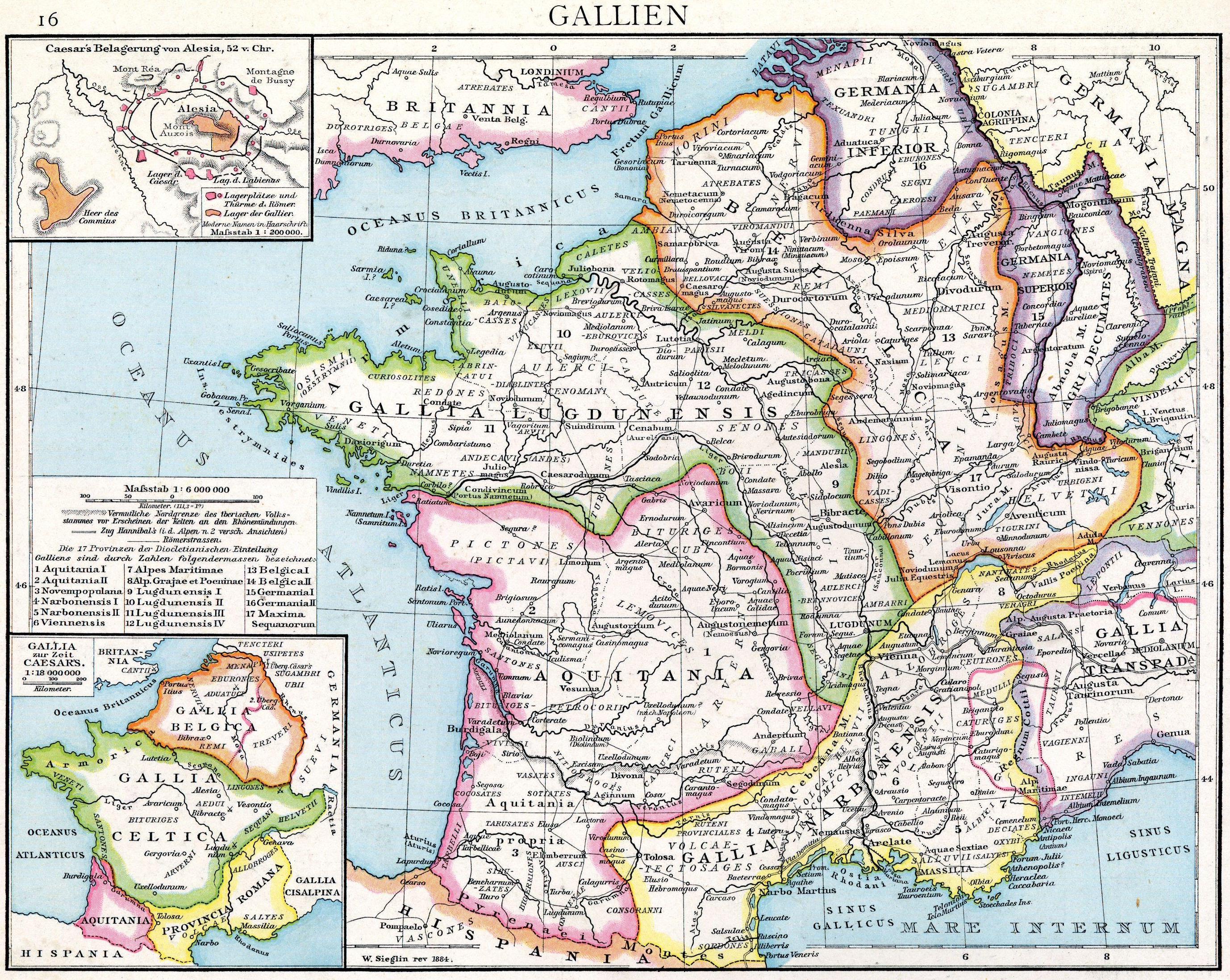 Map of Roman Gaul by Gustav Droysen (1886)