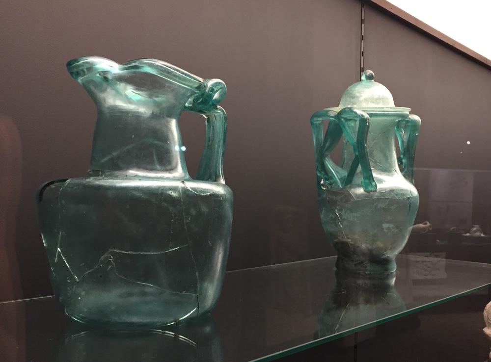 Blue glassware with handles (Author photo)