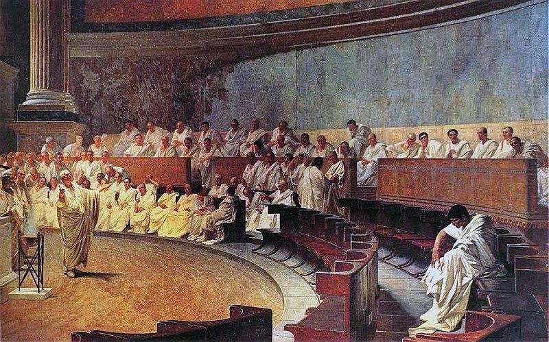Cicero accusing Cataline, Maccari Hall, Italian Senate (Public domain)