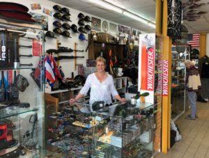 Laurence Mousseron and her shop, Surplus Militaire Armurie et Cotellerie, Thouars