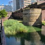 Phot of Northwest bastion at corner of the Roman fort near St Giles Cripplegate; mostly later stonework on Roman foundations