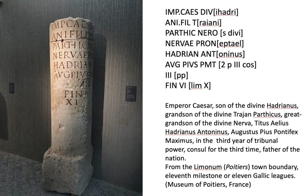 Roman milestone, Poitiers Museum