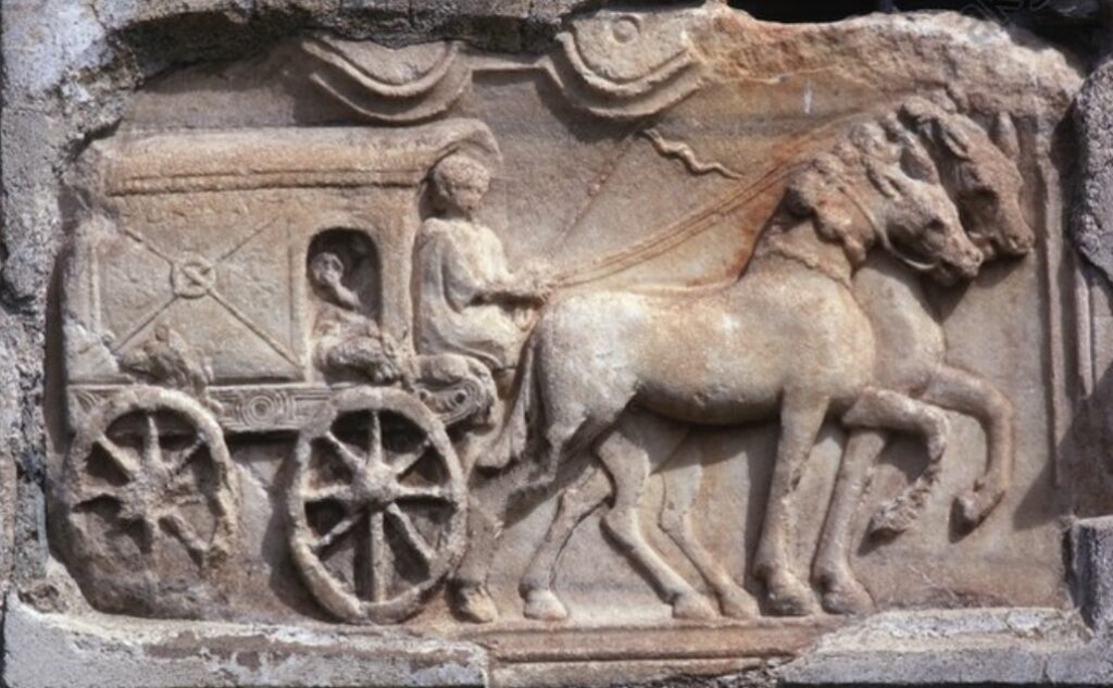 Roman relief depicting a travelling wagon (raeda)from a tomb from Virunum,Zollfeld, Austria.